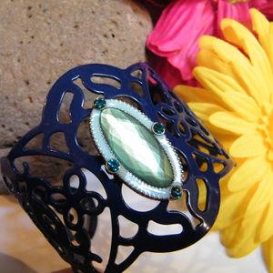 Blue Enamel Pierced CUFF Bracelet Green Oval Stone